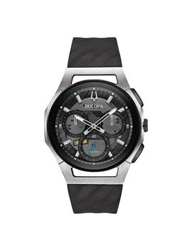 Men's Bulova Curv Chronograph Strap Watch With Grey Skeleton Dial (Model: 98 A161) by Zales