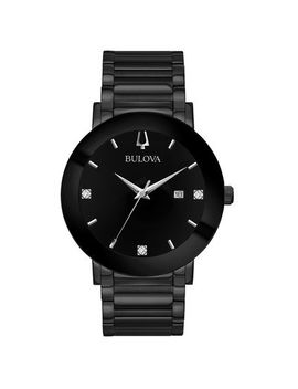 Men's Bulova Modern Diamond Accent Black Ip Watch With Black Dial (Model: 98 D144) by Zales