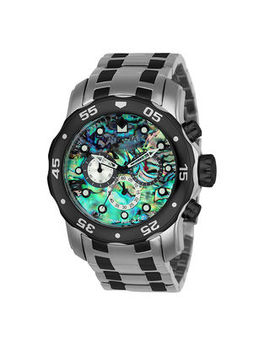 Men's Invicta Pro Diver Chronograph Two Tone Watch With Abalone Dial (Model: 24837) by Zales