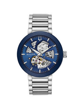 Men's Bulova Modern Automatic Watch With Blue Skeleton Dial (Model: 96 A204) by Zales