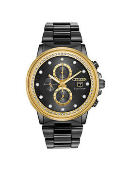 Men's Citizen Eco Drive® Chandler Crystal Accent Chronograph Black Ip Watch With Black Dial (Model: Fb3008 57 E) by Zales