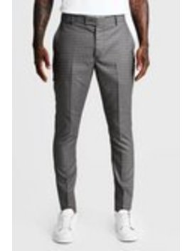 Heritage Gingham Skinny Fit Suit Trouser by Boohoo Man