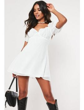 Tall White Dobby Milkmaid Skater Mini Dress by Missguided