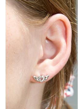 Silver Rhinestone Flying Heart Earrings by Brandy Melville