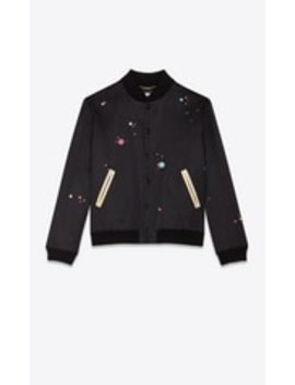 Embroidered Varsity Jacket With Saint Laurent Print by Saint Laurent
