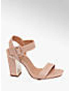 Nude Gold Detail Block Heels by Catwalk