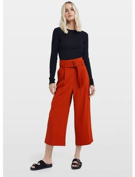 Rust Wide Leg Cropped Trousers by Miss Selfridge