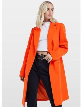 Orange Single Breasted Coat by Miss Selfridge