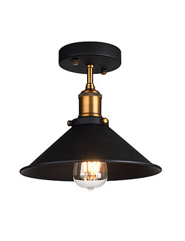 Diameter 26cm Industrial Ceiling Light Semi Flush Vintage Metal 1 Light Ceiling Lamp Dining Room Kitchen Light Fixture  #06105283 by Lightinthebox