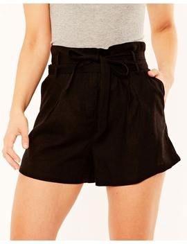 Linen Blend Tie Waist Shorts by Glassons