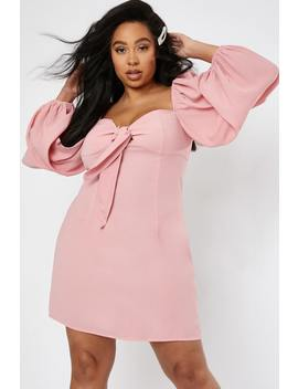 Curve Lorna Luxe 'royal Drama' Pink Puff Sleeve Mini Dress by In The Style
