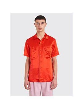 Sies Marjan Dean Washed Satin Pocket Shirt Scarlet Red by Très Bien