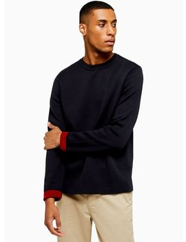 Navy Double Faced Crew Neck Jumper by Topman