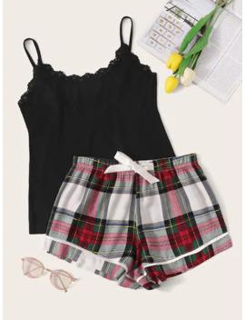 Lace Trim Cami Top & Plaid Shorts Pj Set by Sheinside