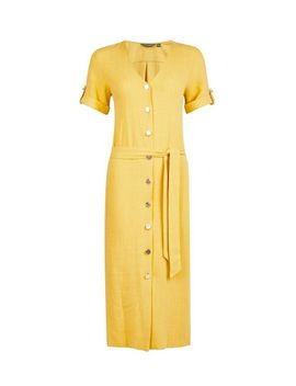 **Tall Yellow Linen Look Dress by Dorothy Perkins