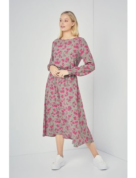 Pink Floral Print Midi Dress by Next