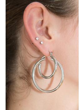 Silver Double Hoop Earrings by Brandy Melville