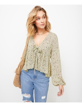 Mini Paisley Tie Front Blouse by Sportsgirl