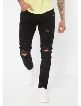 Supreme Flex Black Distressed Moto Skinny Jeans by Rue21