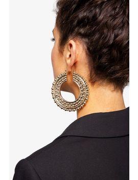 Oversized Detailed Hoop Earrings by Topshop