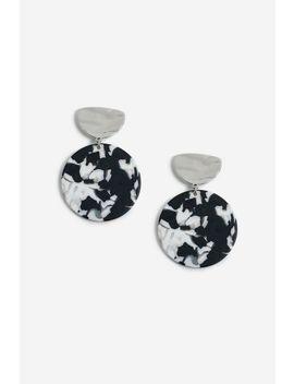 Monochrome Disc Drop Earrings by Topshop