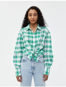 Dannie Top In Green / Lilac Plaid by Need