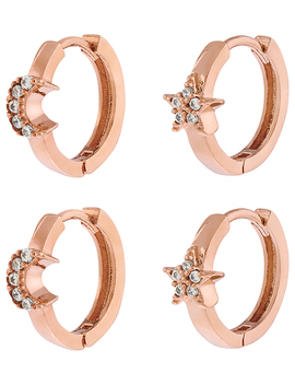 X2 Star And Moon Huggie Hoop Earrings by Accessorize
