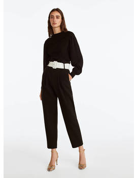 Trousers With Contrast Belt by Uterqüe