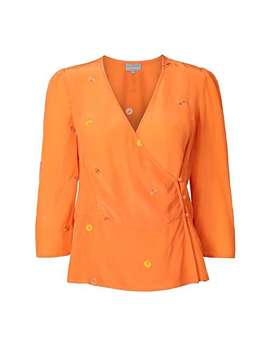 Embroidered Orange Wrap Top by Olivar Bonas
