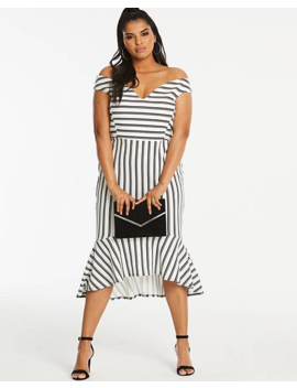 Simply Be By Night Stripe Bardot Fishtale Dress by Simply Be