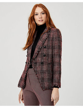 Frayed Bouclé Double Breasted Blazer by Le Chateau