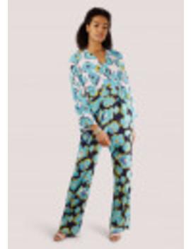 Duck Egg Geometric Floral Wrap Jumpsuit by Closet