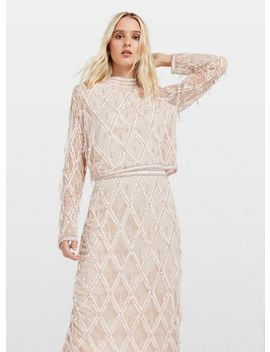 Nude Embellished High Neck Top by Miss Selfridge