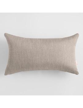 Sunbrella Khaki Ash Cast Outdoor Lumbar Pillow by World Market