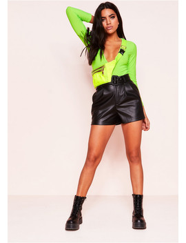 Sunni Neon Green Plunge Long Sleeve Bodysuit by Missy Empire