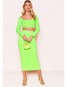 Malia Neon Green Ribbed Co Ord Set by Missy Empire