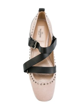 Pink Rockstud Strappy Suede Ballet Flats by Valentino