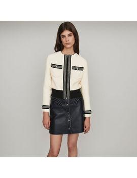 Zipped Tweed Style Contrast Jacket by Maje
