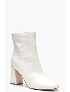 White Croc Block Heel Shoe Boots White Croc Block Heel Shoe Boots by Boohoo