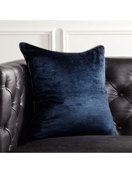 "18"" Navy Crushed Velvet Pillow With Down Alternative Insert by Crate&Barrel"