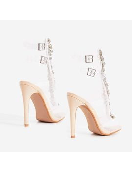 Belfonte Jewel Embellished Perspex Heel In Nude Patent by Ego
