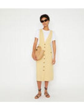 Linen Midi Pinafore Dress by Warehouse
