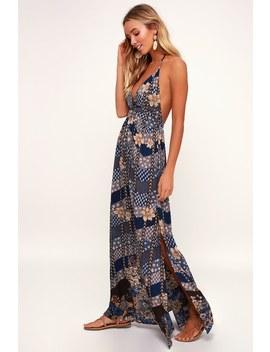 Annalisa Blue Multi Floral Print Halter Maxi Dress by Venus
