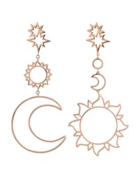Hollow Sun Moon Shape Drop Earrings by Dress Lily