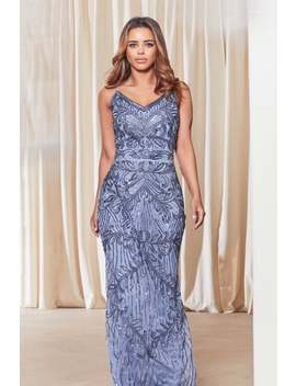 Sistaglam Flory Blue Embroidered Maxi Dress by Little Mistress