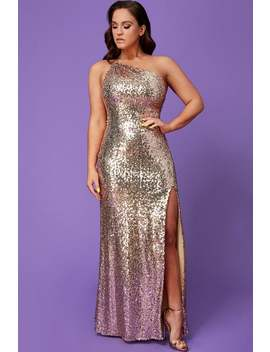 Goddiva Vicky Pattison Champagne One Shoulder Sequin Maxi Dress by Little Mistress