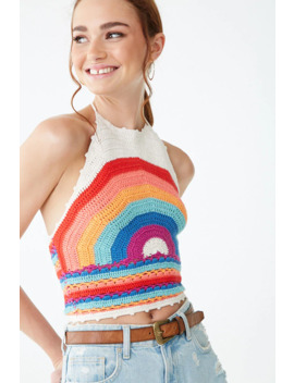 Rainbow Print Halter Top by Forever 21