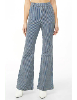 Pinstriped Flared Jeans by Forever 21