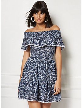 Madelyn Navy Floral Off The Shoulder Fit And Flare Dress   Eva Mendes Collection by New York & Company