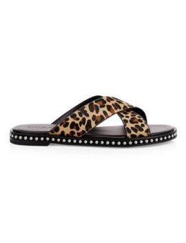 Leopard Print Calf Hair Flat Sandals by Coach
